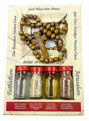 Holy Land Set Kit Olive Wood Prayer Rosary 4 Bottles Oil Water Incense Earth