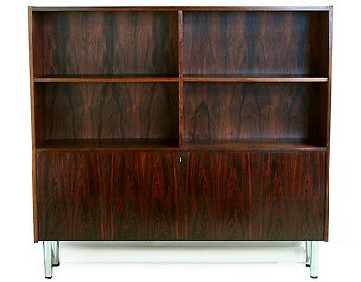 60s 70s retro vintage DANISH ROSEWOOD BOOKCASE CABINET SHELVING WALL UNIT