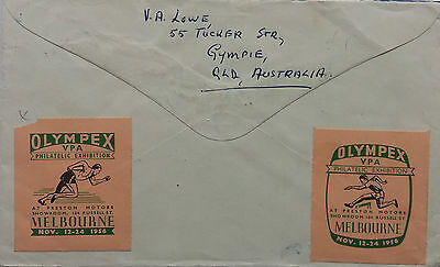 Australia 1956 Cover With 2 Different Olympic Games Philatelic Expo Labels