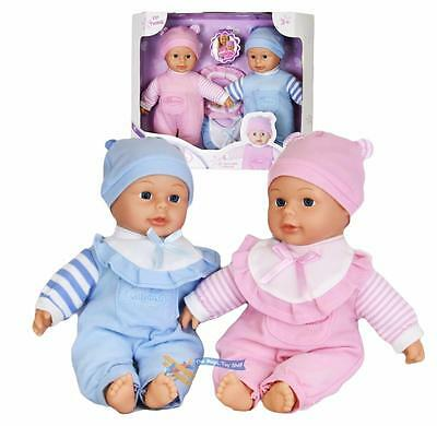 """12"""" Twins Dolls with 6 Sounds Twin Babies Cuddles Baby Girl Boy New Born Doll"""