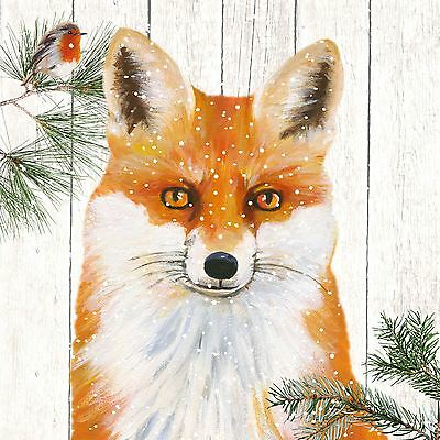 "CHRISTMAS WINTER FOX ORANGE 3-PLY 20 PAPER NAPKINS SERVIETTES 13""x13""–33X33CM"
