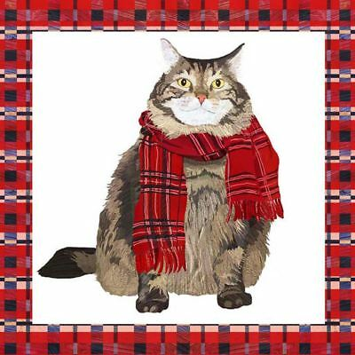 "CHRISTMAS CAT SCARF TARTAN RED 3-PLY 20 PAPER NAPKINS SERVIETTES 13""x13""–33X33CM"