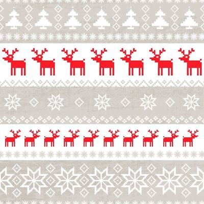"NORDIC REINDEER SNOWFLAKES RED 3-PLY 20 PAPER NAPKINS SERVIETTES 13""x13""–33X33CM"