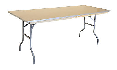 2 Wood Folding Tables 6 ft Rectangle Commercial Wedding Party Event Dining Table