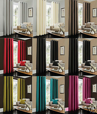 Faux Silk Fully Lined Eyelet Curtains Ring Top Room Solid ☆☆ FREE FAST DELIVEY