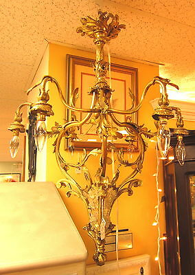 RARE c1910 ANTIQUE GILT-BRONZE ROCOCO 7-LIGHT BIRDCAGE CHANDELIER FRENCH ORMOLU