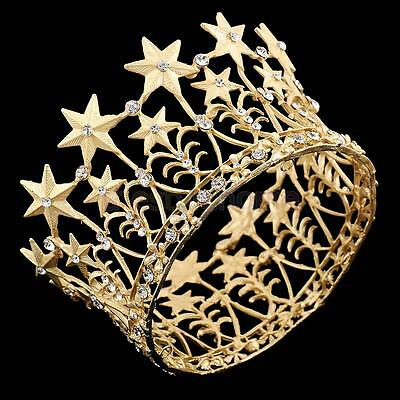 Antique Crystal Wedding Bridal Crown Tiara Headwear Pageant Prom Party-Gold