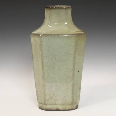 Chinese Porcelain Celadon Green Crackle Octagonal Vase Ceramics Pottery China