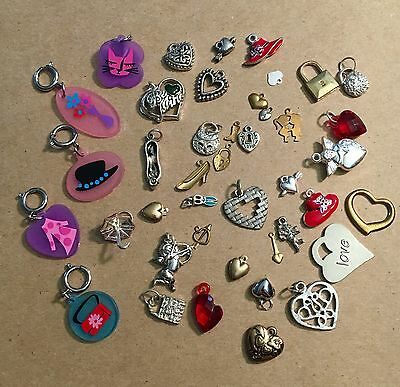 5 Plastic Barbie Mattel Charms & Hearts Purse Lot
