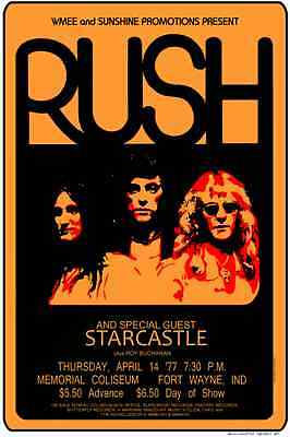 Rush 1977  Indianna CONCERT POSTER with Starcastle