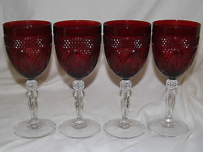 Set of 4 Ruby with Clear Stem Cristal D'Arques Antique Water Goblets