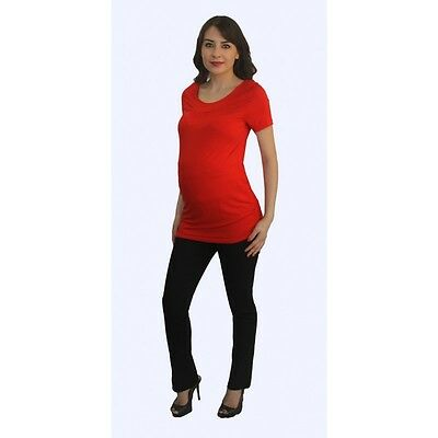 Short Sleeve Red Solid Black Pants Maternity Set Two Piece Pregnancy Womens