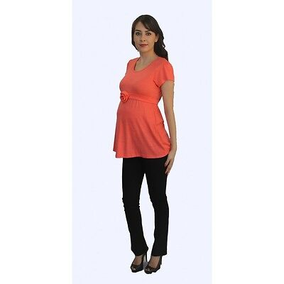Short Sleeve Coral Solid Black Pants Maternity Set Two Piece Pregnancy Womens