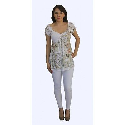 Short Sleeve Sublimation Paisley White Pants Maternity Set Two Piece Wedding
