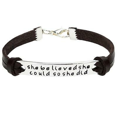 New She Believed She Could So She Did Charm Bracelet Women Men Bangle Jewelry