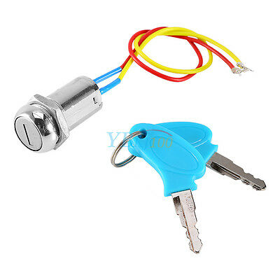 2 Wire & Key Ignition Switch Keys Lock For Electric Scooter ATV Moped Kart Mini