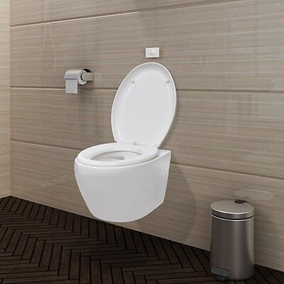 #bNew Wall Hung WC Toilet Oval Soft Close Mechanism Bathroom Flush Tank White
