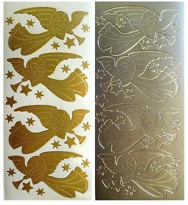 CHRISTMAS ANGELS & STARS Peel off Stickers Card Making Religion Gold or Silver