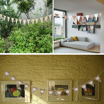 Vintage Shabby Chic Rustic Hessian Burlap Banner Wedding Bunting Party Home Hot