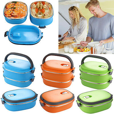 1/2 Layer Stainless Insulated Thermal Lunch Box Bento Handle Food Container Box