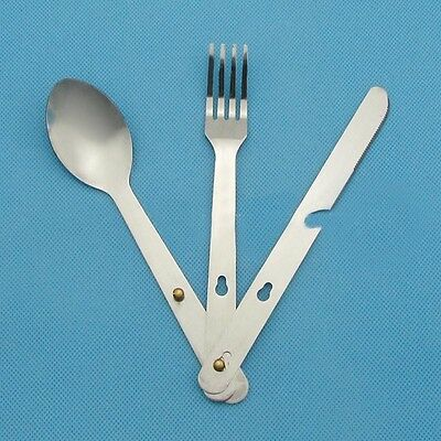Outdoor Sport  Fork Spoon Eating Utensil Stainless Steel Camping Cutlery Set Kit