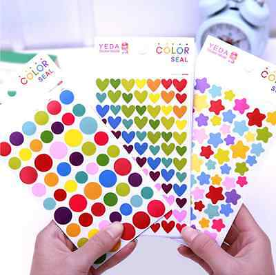 6 Sheets Assorted Stickers Heart Star Round Shape Multi Color Reward Kid Work CA