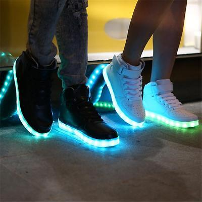 Casual Unisex High Top USB LED Light Lace Up Sportswear Sneaker Luminous Shoes
