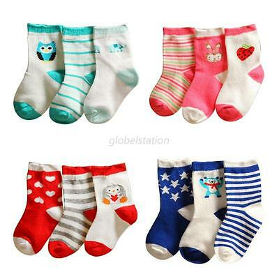 3Pairs Lovely Infant Baby Girl Boy Anti-Slip Cartoon Cotton Socks Foot Sock 0-3Y