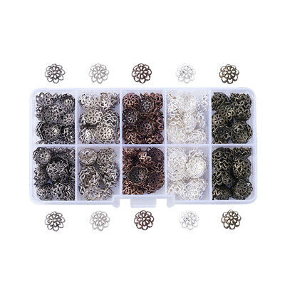 525pcs/box Mixed Iron Flower Bead Caps 9x4mm Hole 1mm Jewellery Findings