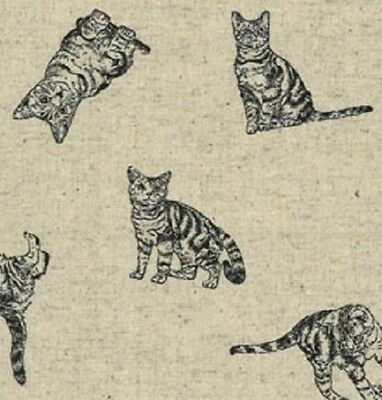 Fat Quarter Maiko Cats Tabby Japanese Cotton Linen Mix Quilting Fabric