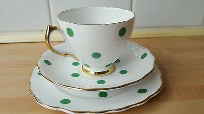 Vintage Royal Vale Green Polka Dot Trio Tea Cup Saucer & Side Plate