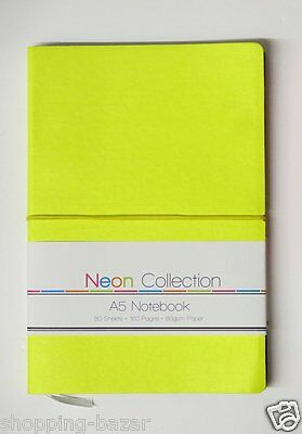 Yellow Notebook Notepad A5 Soft Touch Neon Colours Ruled Feint Lined 160 Pages