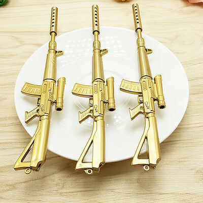 Gold Rifle Shape Black Ink Ballpoint Pen Stationery Office Ball Point Novelty p5