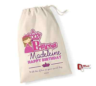 Personalised Birthday Gift Bag Princess Design Any Wording Many Sizes
