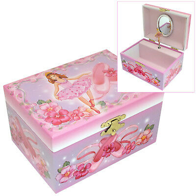 Girls Pink Musical Ballet Themed Jewellery Box With Rotating Ballerina Figure
