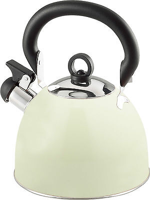 Coloured Stainless Steel Retro Whistling Kettle / Camping Kettle 2.5 Ltr