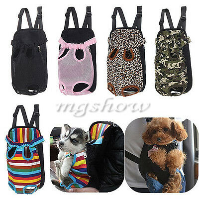 Pet Puppy Dog Cat Canvas Backpack Front Tote Carrier Safe Travel Net Bag 4 Sizes