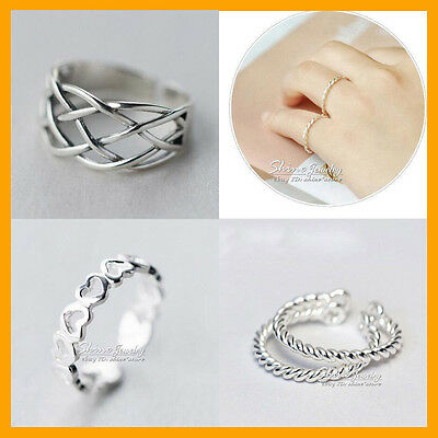 925 Solid Sterling Silver Adjustable Toe heart rope swirl celtic women girl Ring