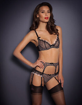 Agent Provocateur ARIEL SUSPENDER in BLACK & PINK FRENCH LACE - AP Size 4 - BNWT
