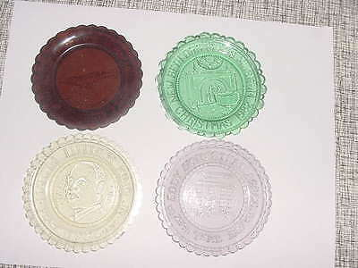 Lot of 4 Pairpoint Cup Plates, Various Colors