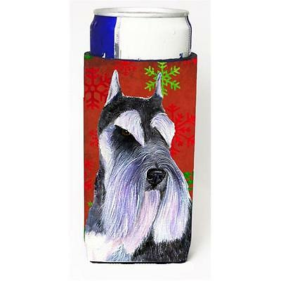 Schnauzer Red And Green Snowflakes Holiday Christmas Michelob Ultra bottle sl...