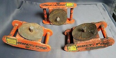 Multiton Machine Heavy Equipment Skates Roller Dollies Skids Rollers Set of 3