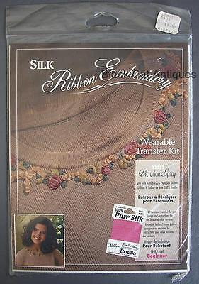 Orig Bucilla Silk Ribbon Embroidery Wearable Transfer Kit Victorian Spray #33555