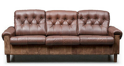 60s 1970s retro vintage DANISH LEATHER AND SUEDE LOUNGE SOFA
