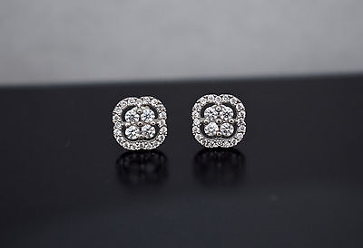 14K Solid White Gold Cushion Pave Created Diamond Screw Back Stud Earrings .50ct