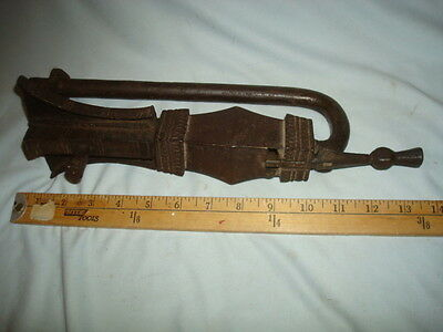"Antique Door Gate Lock From India, 18Th/19Th Century Superb Ironwork, 13.5"" X 5"""