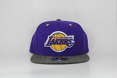 finest selection 2c3c6 010c8 Los Angeles LA Lakers Mitchell   Ness Donegal Visior Hi Crown Fitted Hat