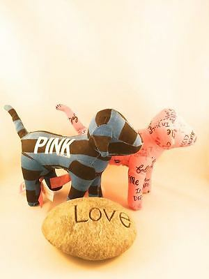 Victoria's Secret Pink 2 Collectible Dogs + Heavy Love Stone Gift