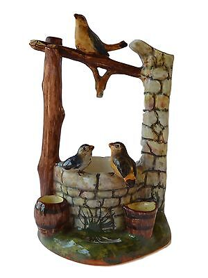Antique French Jerome Massier Vallauris Majolica Bird Wishing Well Centrepiece