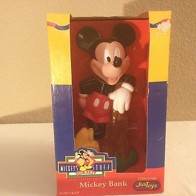 """Mickey Mouse vintage plastic bank collectors """"just toys co.""""new york New In Box!"""